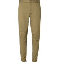 Lanvin Tapered Cotton Twill Biker Trousers Neutral