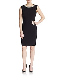 Saks Fifth Avenue Black Embellished Neckline Sheath Dress Black
