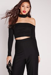Missguided Tab Neck Ribbed Crop Top Black Black