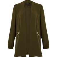 River Island Womens Khaki Green Open Lightweight Jacket
