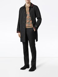 Burberry Logo Detail Technical Cotton Blend Car Coat Black