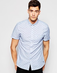Jack Wills Shirt With Dobby Pattern Short Sleeves Navyred