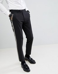 Asos Design Skinny Tuxedo Suit Trousers In Black With Gold Honeycomb Effect Side Stripe