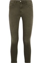 L'agence Margot Cropped High Rise Skinny Jeans Army Green