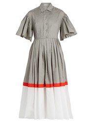 Vika Gazinskaya Tri Colour Cotton Poplin Dress Grey Multi