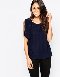 Jasmine Top With Embellished Sleeves Navy
