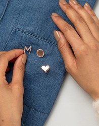 Johnny Loves Rosie Heart Pin Set With Initial M Gold