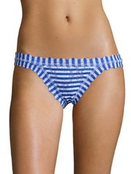 Hanky Panky Brenton Striped Brazilian Lace Bikini Bottom Blue White