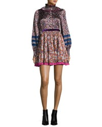 Marc Jacobs Paisley Print Silk Babydoll Dress Olive