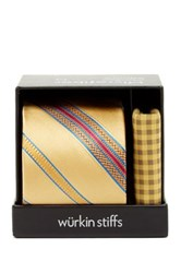 Wurkin Stiffs Stripe Tie And Pocket Square Set Yellow