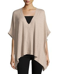 Minnie Rose Knit Dolman Sleeve V Neck Poncho Taupe Heat