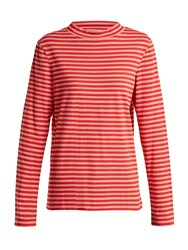 Mih Jeans Emile High Neck Striped Cotton Top Red Stripe