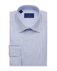 David Donahue Regular Fit Framed Stripe Dress Shirt Blue