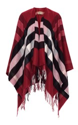 Burberry Collette Wool Cashmere Cape Red