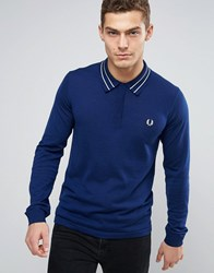 Fred Perry Knit Polo Tramline Tipped Long Sleeve In Navy French Navy
