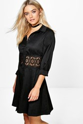 Boohoo Lace Crochet Waist Shirt Dress Black