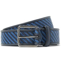 Ermenegildo Zegna 3.5Cm Blue Pelle Tessuta Leather Belt Midnight Blue