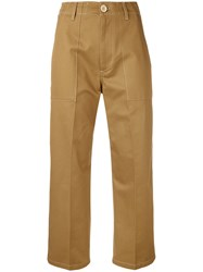 Golden Goose Deluxe Brand Cropped Trousers Women Cotton M Nude Neutrals