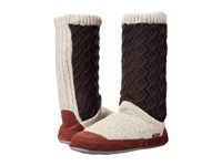 Acorn Slouch Boot Charcoal Cable Knit Women's Slippers Brown