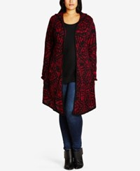 City Chic Trendy Plus Size Hooded Duster Cardigan Chocolate