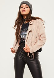 Missguided Petite Exclusive Nude Bonded Faux Suede Biker Jacket Taupe