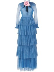 Gucci Tiered Tulle Gown Blue