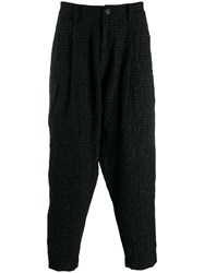 Ziggy Chen Checked Tapered Trousers Black