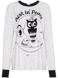 Ashish Sequin Embellished Rest In Peace T Shirt White