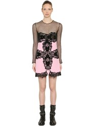 Fausto Puglisi Wool Crepe And Lace Sheer Mini Dress Pink