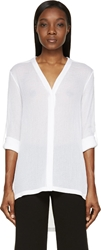 Helmut Lang White Gauze Drop Tail Blouse