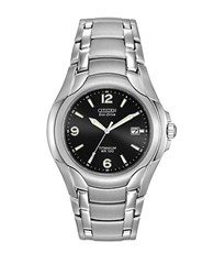 Citizen Mens Eco Drive Black Dial Titanium Watch Silver