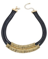 Inc International Concepts Gold Tone Black Braided Nylon Cord Double Row Necklace Only At Macy's
