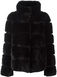 Yves Salomon Rabbit Fur Coat Black