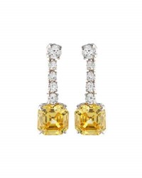 Fantasia Asscher Cut Canary Cz Drop Earrings