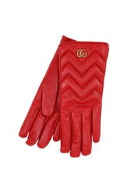 Gucci Gg Marmont Embossed Leather Gloves Rosso