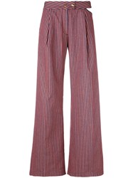 Cycle Flared Striped Trousers Women Cotton Spandex Elastane 26 Yellow Orange