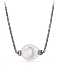 David Yurman Solari Station Necklace With Diamonds And Pearls Darkened Silver