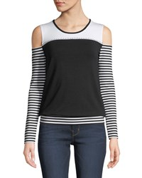 Grayse Cold Shoulder Stripe Sleeve Tee White Black