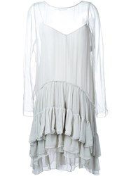 Chloe Tiered Ruched Dress Grey
