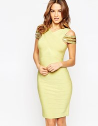 Forever Unique Suki Bandage Dress With Strap Detail Lime