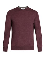 Brunello Cucinelli Crew Neck Wool And Cashmere Blend Sweater Burgundy
