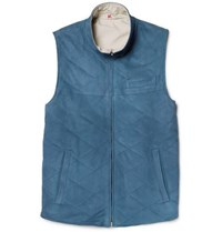 Isaia Reversible Suede And Shell Gilet Light Blue
