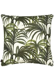House Of Hackney Palmeral Printed Cotton And Linen Pillow White Green