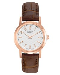 Bulova 27Mm Stainless Steel Watch W Leather Strap Brown