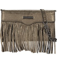 Rebecca Minkoff Fringed Leather Cross Body Phone Purse Anthracite