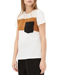Sandro Tale Color Block Pocket Tee White