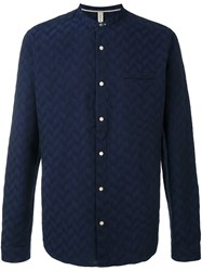 Dnl Chevron Texture Button Down Shirt Blue