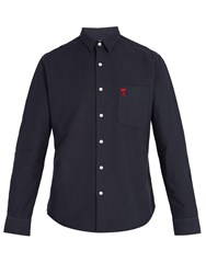 Ami Alexandre Mattiussi Logo Embroidered Cotton Shirt Navy