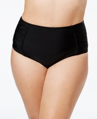 Jessica Simpson Plus Size Shirred High Waist Bikini Bottoms Women's Swimsuit Black