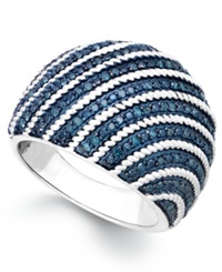 Macy's Blue Diamond Dome Ring In Sterling Silver 1 2 Ct. T.W.